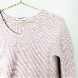 Madewell Medium Wool Vneck Sweater Light Purple